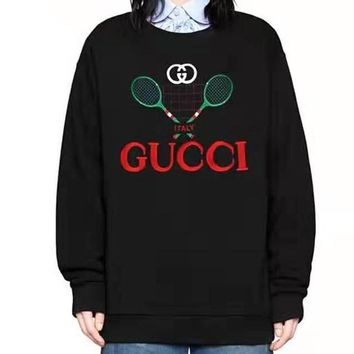Free shipping-GUCCI new tennis print round neck long sleeve sweater