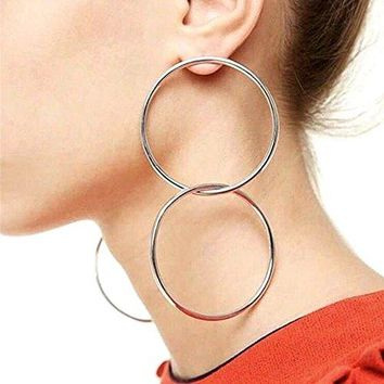 QTMY Statement Big Large Hoop Earrings for Women Stainless Steel Double Round Circles