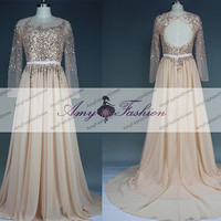 2015 New Made Illusion High Neck Backless Long Sleeve Prom Dress Fully Beaded Top Open Back Evening Dress Formal Gown Chiffon Prom Dresses