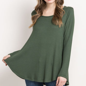 Waffle Knit Long Sleeve Top- Green