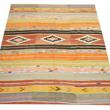 Vintage Turkish Kilim rug 7,4 x 5,7 Feet Oriental rug kilim Decorative rug Large size rug Traditional kilim rug wool kilim carpet Y-233