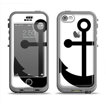 The Solid Black Anchor Silhouette Apple iPhone 5c LifeProof Nuud Case Skin Set