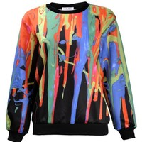 ZLYC Women Girls Fashion Splash Water Art Painting Print Melted Sweatshirt Top
