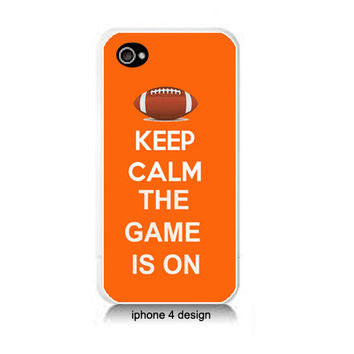 Keep Calm The Game Is On Iphone 4/4s case, Iphone cover, football, orange