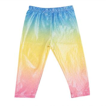 Girls Sparkly Sequin Rainbow Leggings
