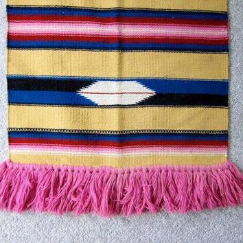 Vintage Wool Rug. Loomed & Woven Tribal Art Wall Tapestry Hanging. Fringed Navajo Rug Hanging. Southwestern Long Wool Hanging.