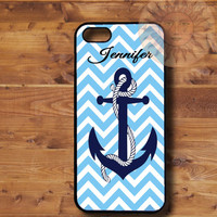 Baby Blue Chevron Anchor-iPhone 5, 5s, 5c, 4s, 4, ipod touch 5, Samsung GS3, GS4 case-Silicone Rubber or Plastic Case, Phone cover