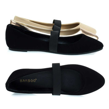 Master03 Black By Bamboo, Almond Toe Ballet Ballerina Flats W Elastic Mary-Jane Strap