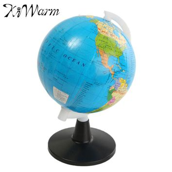 KiWarm 8.5cm Delicate World Globe Atlas Map With Swivel Stand For Home Office Decor Craft Ideal Miniatures Gift For Children