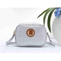 Tous Fashion Women Letter Print Leather Crossbody Satchel Shoulder Bag Silver I-XS-PJ-BB