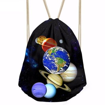 Planet System Drawstring Bags Cinch String Backpack Funny Funky Cute Novelty
