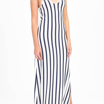 Striped Maxi Dress with Lace Up Back Detail