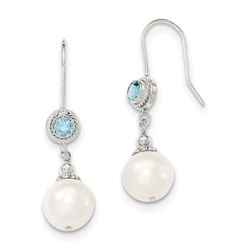 Sterling Silver Blue Topaz Freshwater Cultured Pearl Drop Dangle Earrings