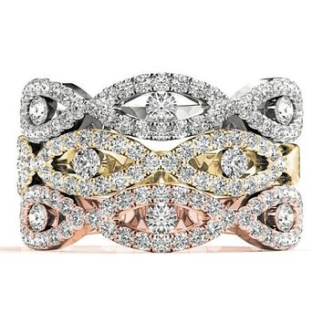 Stackables 1/2 Eternity Tri-Tone Gold Micro-Pave Infinity 3-Band Set Selectables