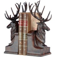 Deer Head with Large Antlers Bookends - Bookends at Hayneedle