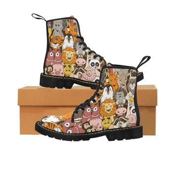 le Colorful psychedelic funny animals Martin Boots for Kids (Black) (Model 1203H)