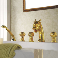 Shipping Gold Colour 5 Pcs Widespread Dragon Pattern Bathroom Bathtub Faucet Waterfall Tub Dragon Faucet Lb-69A018-5
