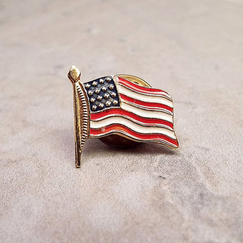 US Flag Pin, Vintage Pin, Vintage Tack Pin, Vintage Lapel Pin, Red White and Blue, Stars and Stripes, Patriotic Jewelry, Fourth of July