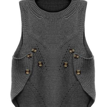 Grey Plain Buttons Round Neck Sleeveless Pullover Sweater