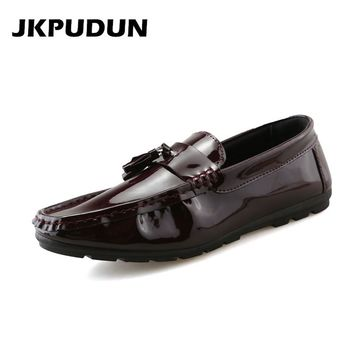 JKPUDUN Italian Tassel Penny Loafers Men Leather Lazy Shoes Casual Designer Fashion Mens Flats Driving Boat Shoes Moccasins Skor
