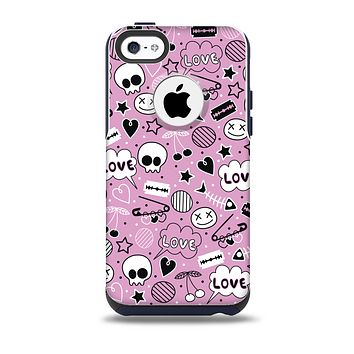 The Pink & Black Love Skulls Pattern V3 Skin for the iPhone 5c OtterBox Commuter Case