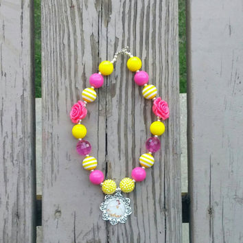 Princess Belle Bubblegum Necklace - Disney Princess Birthday - Yellow Pink - Toddler Necklace - Ready to ship- Photo Prop - Gift - Rose