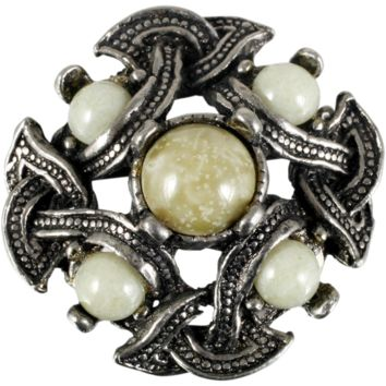 Miracle Jewelry Celtic Brooch Glass Connomara Marble Eternal Knot Vintage