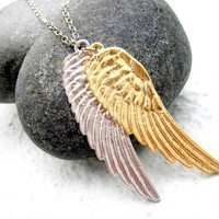 Angel Wings Necklace Silver Gold Mens Necklace by pearlatplay