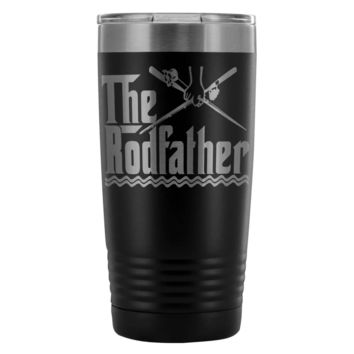 Funny Fishing Travel Mug For Dad The Rod Father 20oz Stainless Steel Tumbler