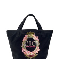 Black Glitter Floral Crest Tote by Juicy Couture, O/S