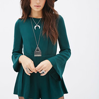 Pleated Bell Sleeve Romper
