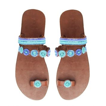 Mabha Blue Toe Loop Sandals