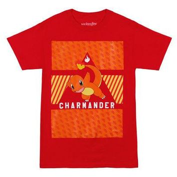 Pokemon Charmander Pattern Officially Licensed Adult Unisex T-Shirts - Red