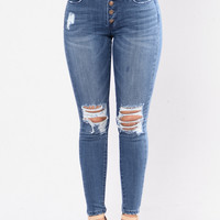 Button Me Up Jeans - Medium Blue