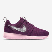 Women's Mulberry Red Blinged Nikes, Bling Roshe Running Training Shoes Customized With Swarovski Crystal Rhinestones Black Nike Bling
