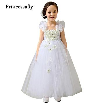 White Flower Dresses Tutu Girl Dresses Tulle Flower Girl Dresses For Weddings Little Girl Prom Dresses Kids Evening Gowns