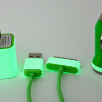 Glow in the dark iphone charger - Includes USB Cable, Wall Adapter & Car Charger
