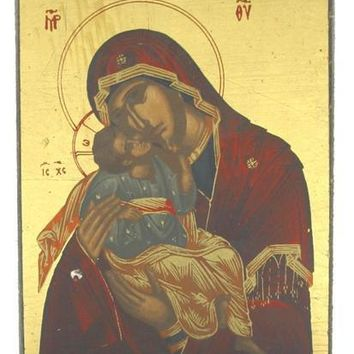 Our Lady of Vladimir Mary Holding Baby Jesus Icon 2.75H