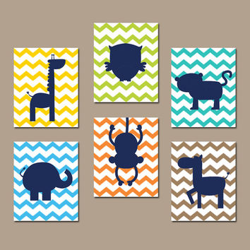 ZOO JUNGLE Wall Art Nursery Canvas Animal Artwork Child Boy Girl Giraffe Owl Zebra Elephant Monkey Tiger Set of 6 Prints Baby Decor