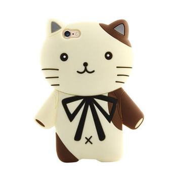 Luxury 3D Cartoon Brand Fabitoo Gentle Cat Soft Protector Phone Case For Samsung Galaxy A5 E7 Cute Silicone Back Cover