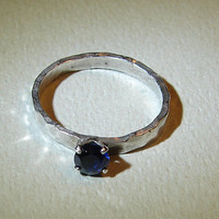 Hammered sterling silver ring handmade with sapphire