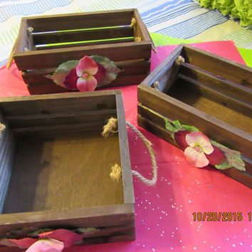 Rustic Beautiful Wooden Crates- Storage Crates - Wedding Crates - Rope Handles - Burgundy and Pink Flowers - Great for Your Country Home
