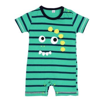 Newborn Baby Cotton Boy Girls Totoro Striped Rompers One-piece Jumpsuits Infant Clothing 0-24Months SM6