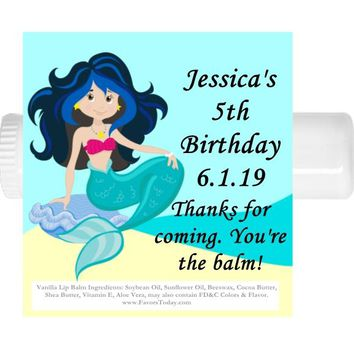15 Princess Mermaid Lip Balm Favors Blue Hair