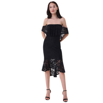 Marcella Lace dress (Black or Berry Red)