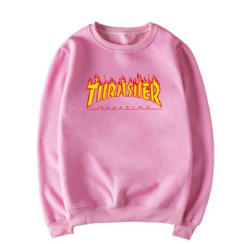 Thrasher Fashion Casual Letter Print Long Sleeve Round Neck Sweater Pink