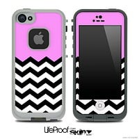 Light Pink Black and White Chevron Pattern V3 Skin for the iPhone 5 or 4/4s LifeProof Case