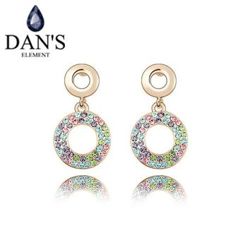 DAN'S 4 Colors Made with Real Austrian Crystals   crystal Stud earrings for women New Sale Hot #93279
