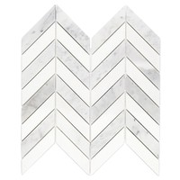 Splashback Tile Dart White Carrara and Thassos Marble Mosaic Tile - 3 in. x 6 in. Tile Sample-S1B2DRTCRATAS - The Home Depot