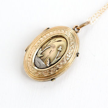 Antique Victorian Locket Necklace - Rare 1800s Ornate 10k Gold Filled Oval Locket With Original Glass Inserts, Collectible Jewelry
